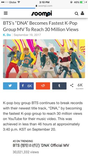 BTS's 'DNA' Becomes Fastest K-Pop Group MV To Reach 30