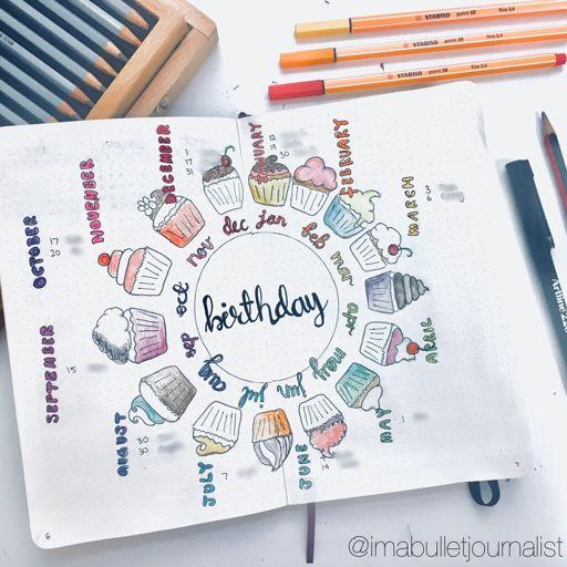 farewell scrapbook template - birthday tracker spread bullet journal amino