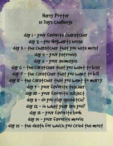 15 day harry potter challenge