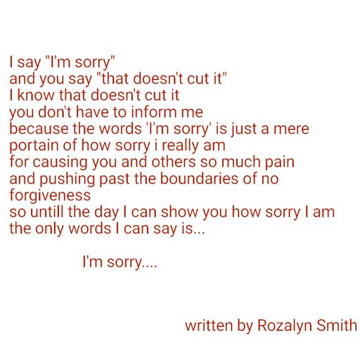 sorry for the pain i caused you poems