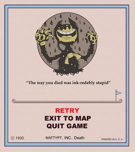 Bendy Cuphead Game Over Screen I Didn T Do The Death Quote Cause I M Lazy Cuphead Official Amino
