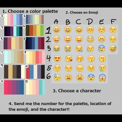 8f1e1cde6 Só escolher uma paleta e um emoji da tabela acima e dizer o número e a  letra correspondentes nos comentários e o personagem que quer que seja  desenhado.