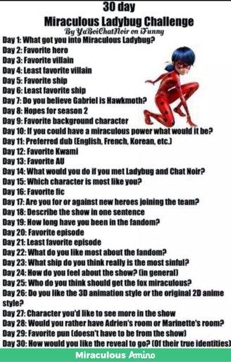 Miraculous Ladybug 30 Day Challenge (19) | Miraculous Amino