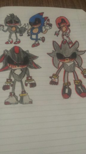 Sonic exe team (sonic exe, tails exe, knuckles exe, shadow exe and