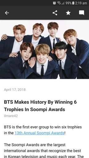 BTS Makes History By Winning 6 Trophies In Soompi Awards