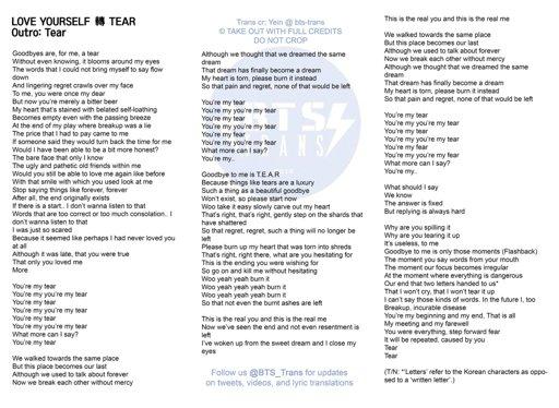 BTS Outro: Tear English Lyrics | ARMY's Amino