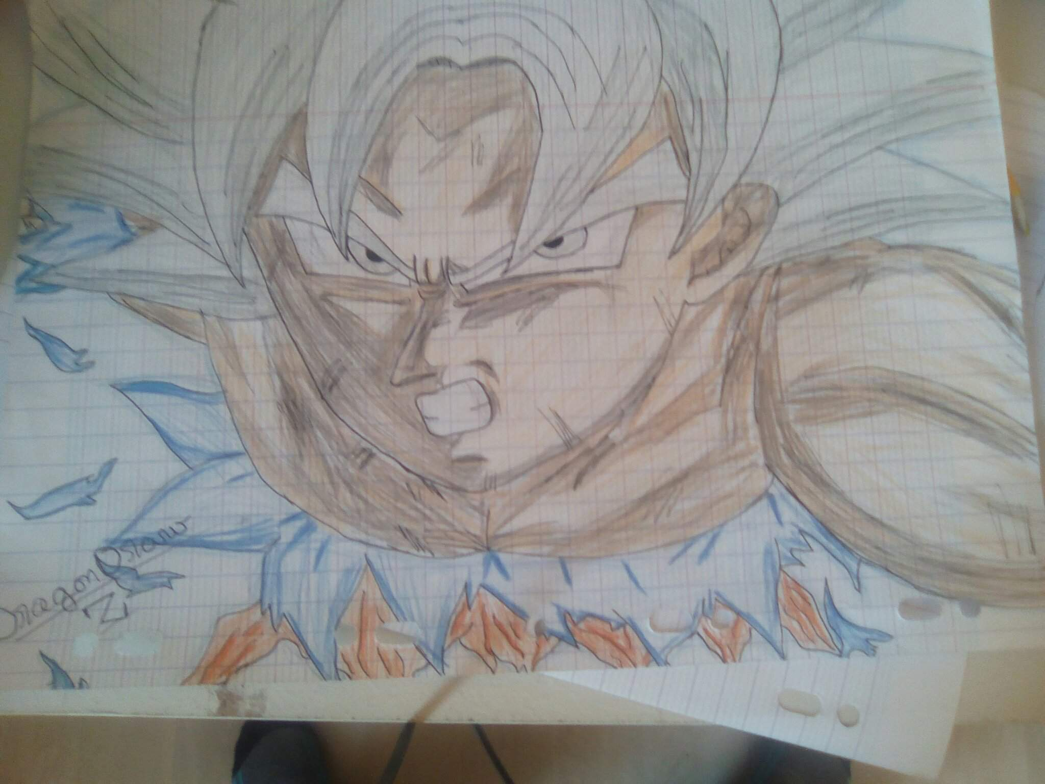 Je Vous Presente Avec Ma Signature Mon Dessin De Goku Ultra Instinct Maitriser Dragon Ball France Amino