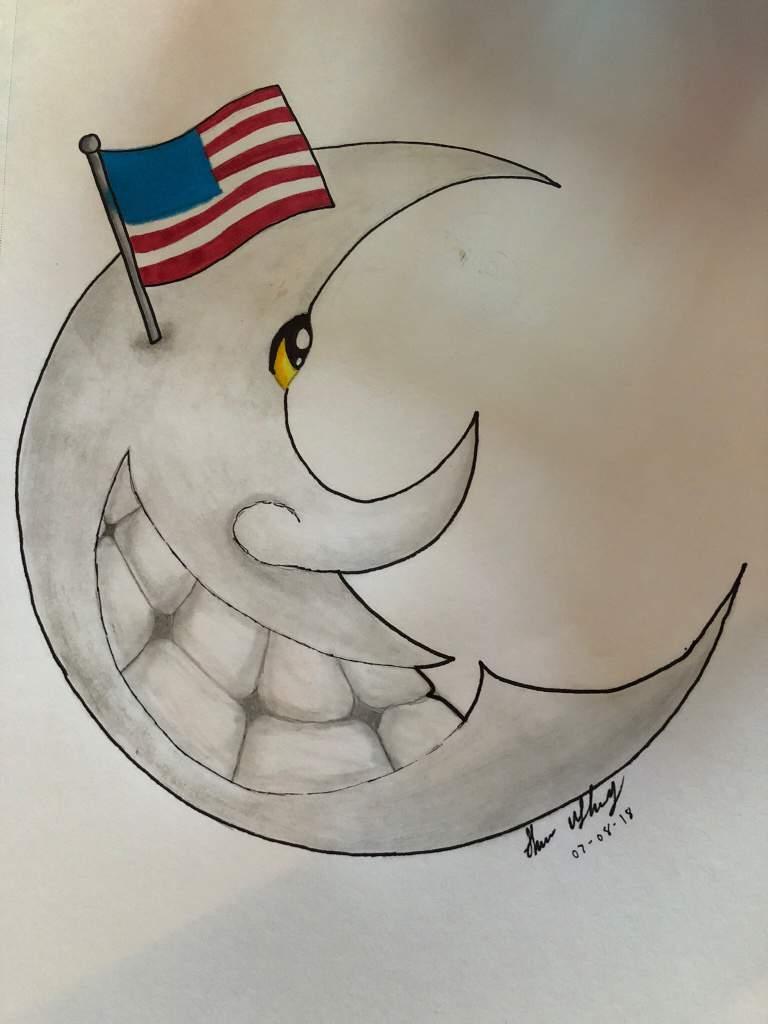 Moon pencil sketch copic marker flag eye art amino