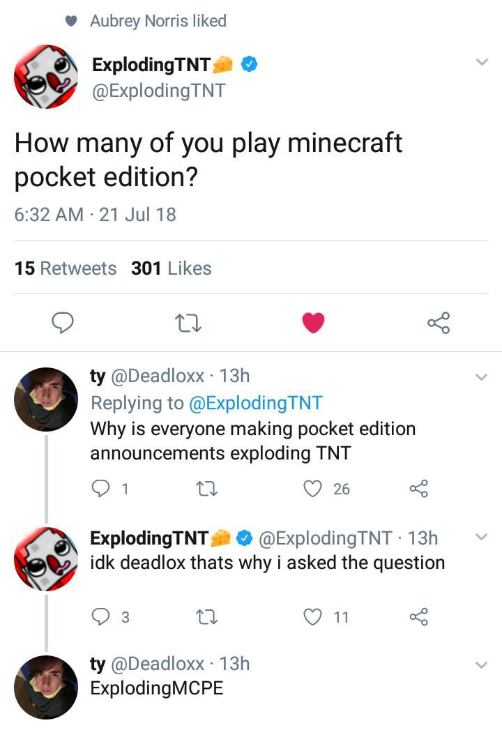 ExplodingTnt's Server May be Supported For Minecraft Bedrock
