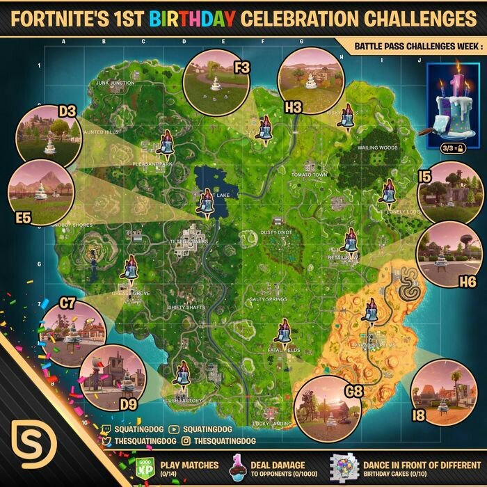 All Birthday Cake Locations Not Mine Fortnite Battle Royale Armory Amino