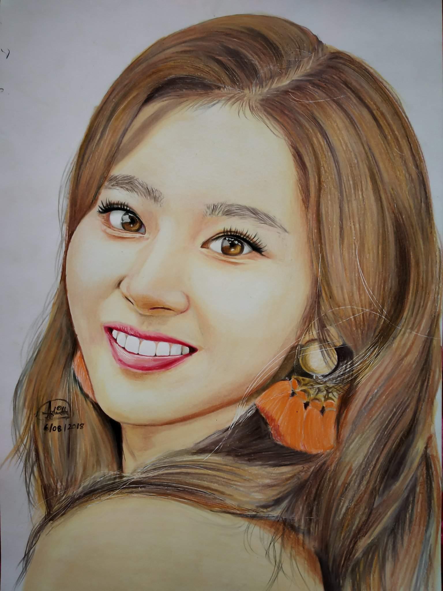 colored portrait of minatozaki sana twice kpop arts and ocs amino