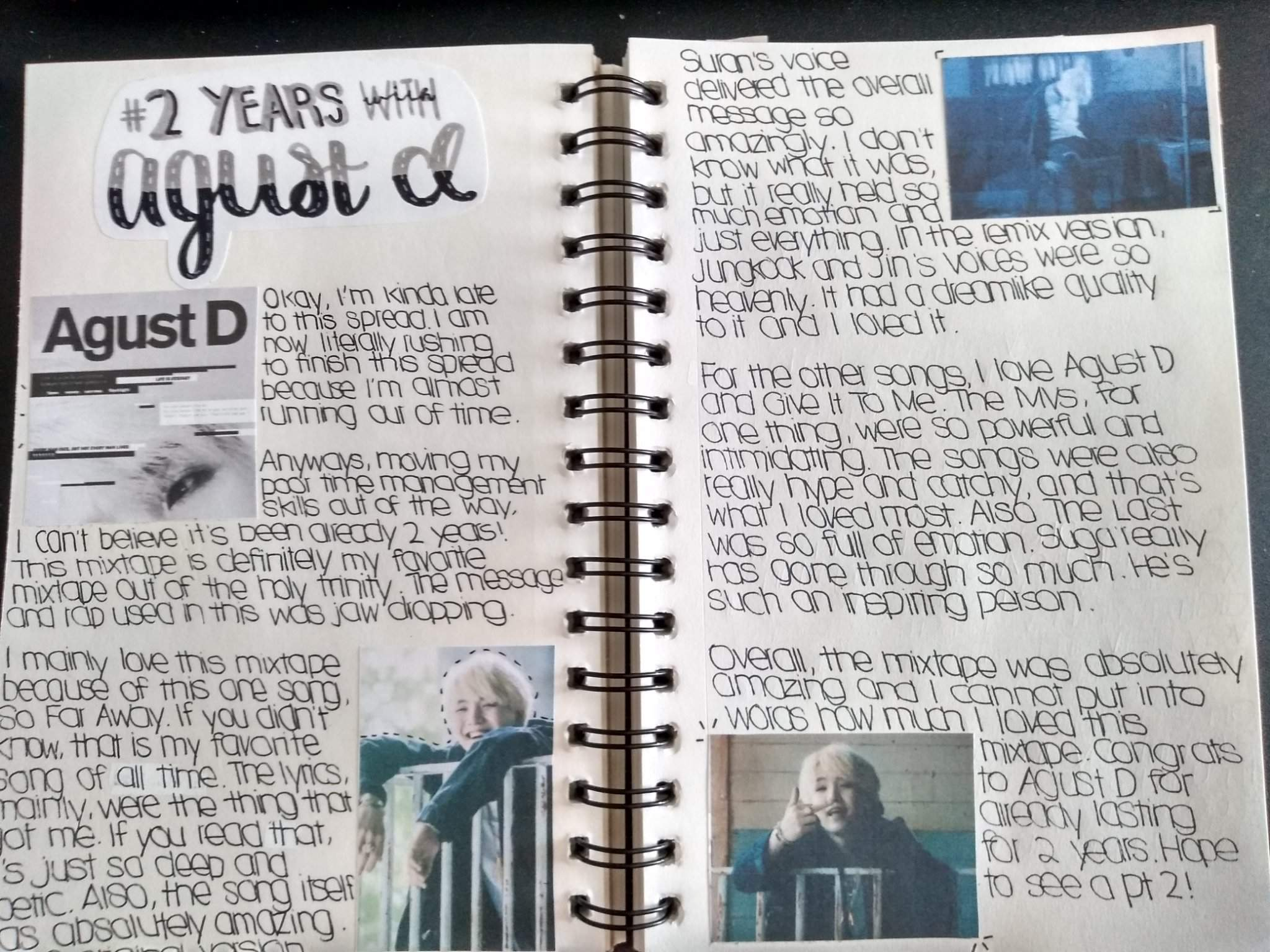 2 Years With Agust D Journal Spread Army S Amino