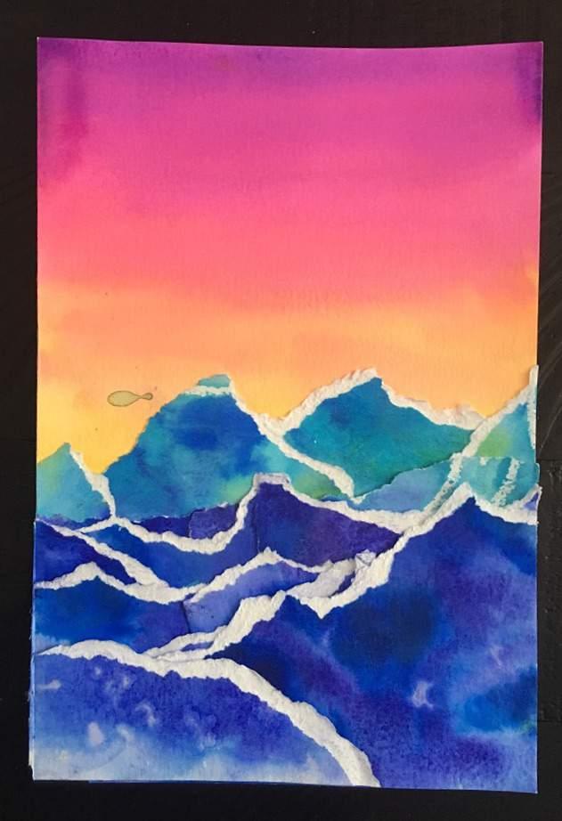 Watercolor Landscape Collage Art Amino