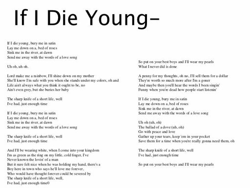 What if i die young  love in 21st century music: Song