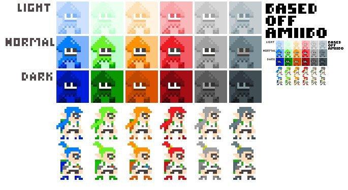 Pixel Art Squids Is Many Colors Splatoon Amino