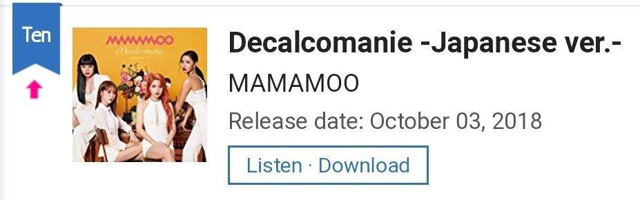 181004 Decalcomanie on Oricon chart | MAMAMOO Amino