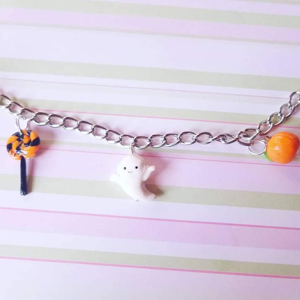 wip halloween charm bracelet   poly clay amino amino