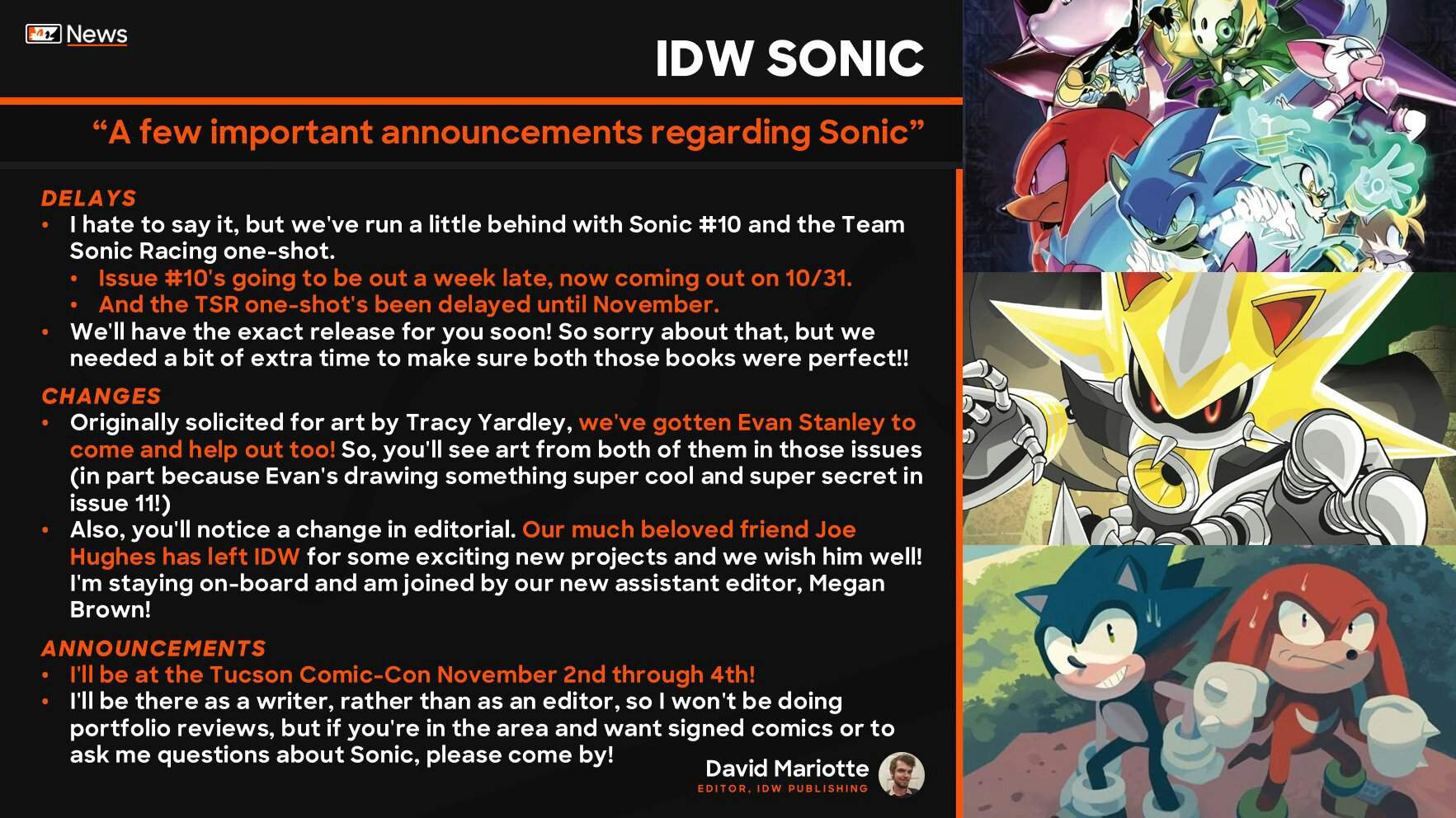 Idw Sonic Issue 10 And Team Sonic Racing Comic Delay Sonic The Hedgehog Amino