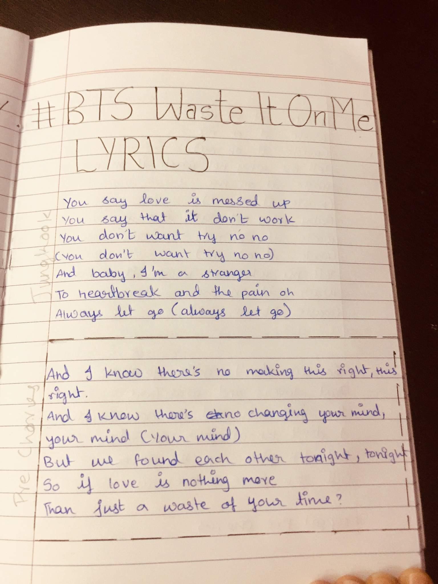 Bts Waste It On Me Lyrics Jungkook Fanbase Amino