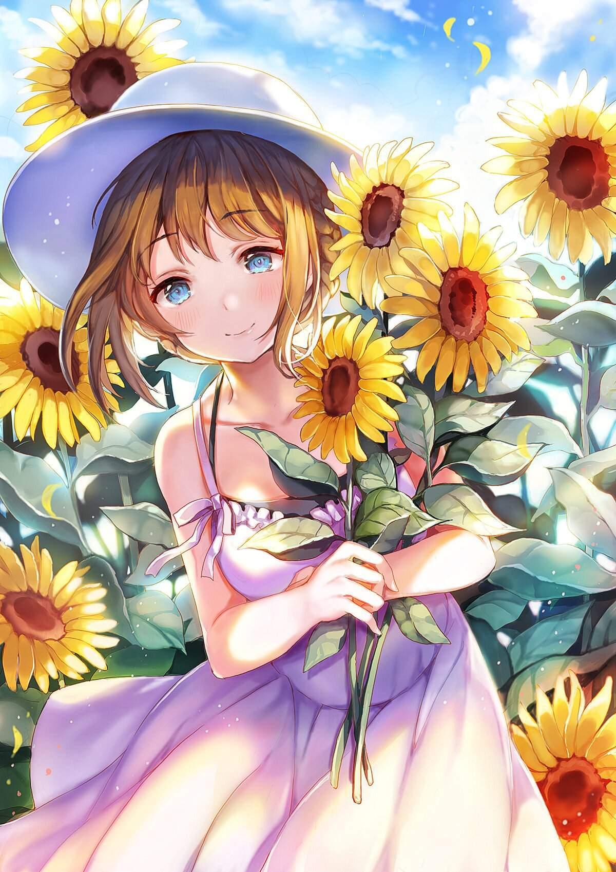 خطوات رسم فتاة صغيرة مع زهور دوار الشمس امبراطورية الأنمي Amino
