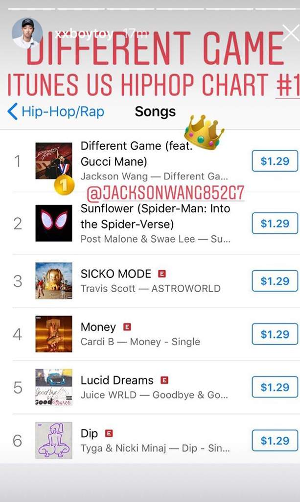 Jackson Different Game #1 iTunes HipHop Charts