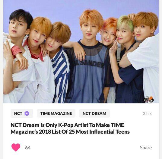 NCT News: NCT Dream Only Kpop Artist on Time Magazine's List of