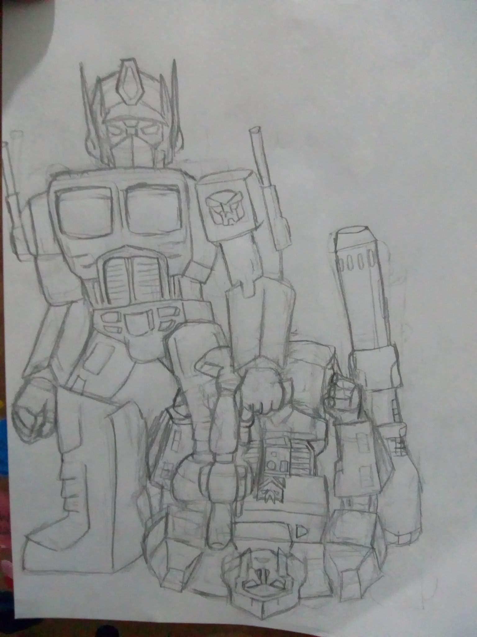 Dibujo De Optimus Prime Vs Megatron Transformers