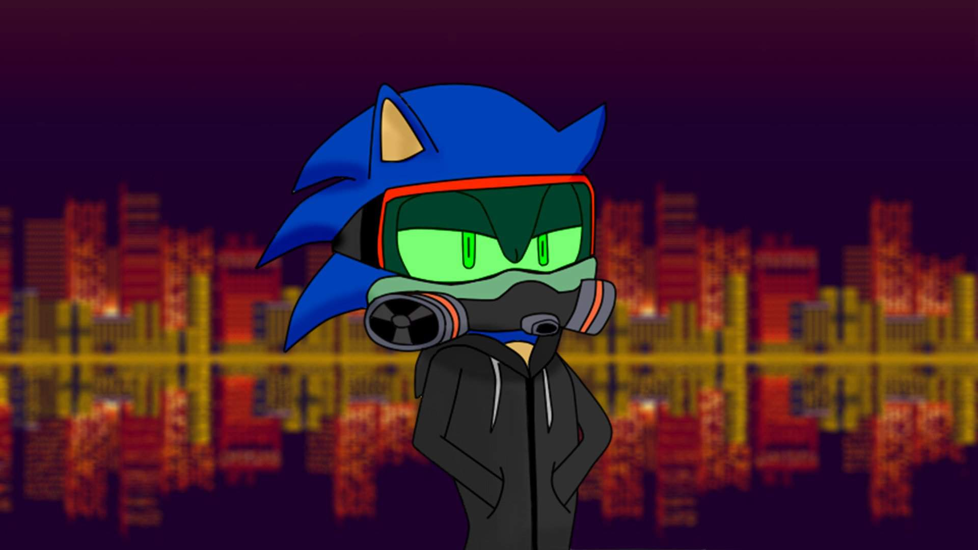Sonic With Gas Mask Respirator Goggles Sonic The Hedgehog Amino