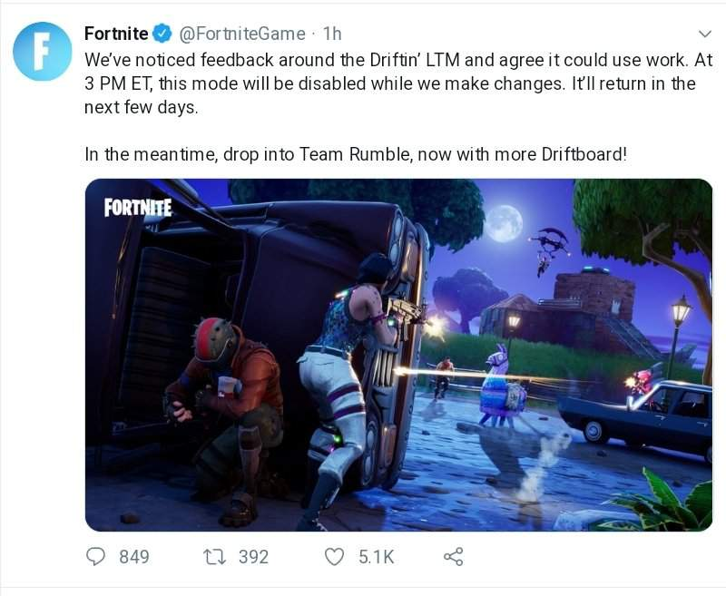 R I P Driftin Welcome Back Team Rumble I Missed You Fortnite