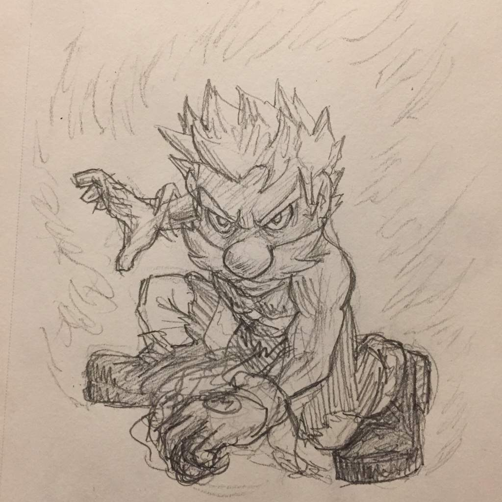 Super Saiyan Mario Pencil Sketch Smash Amino