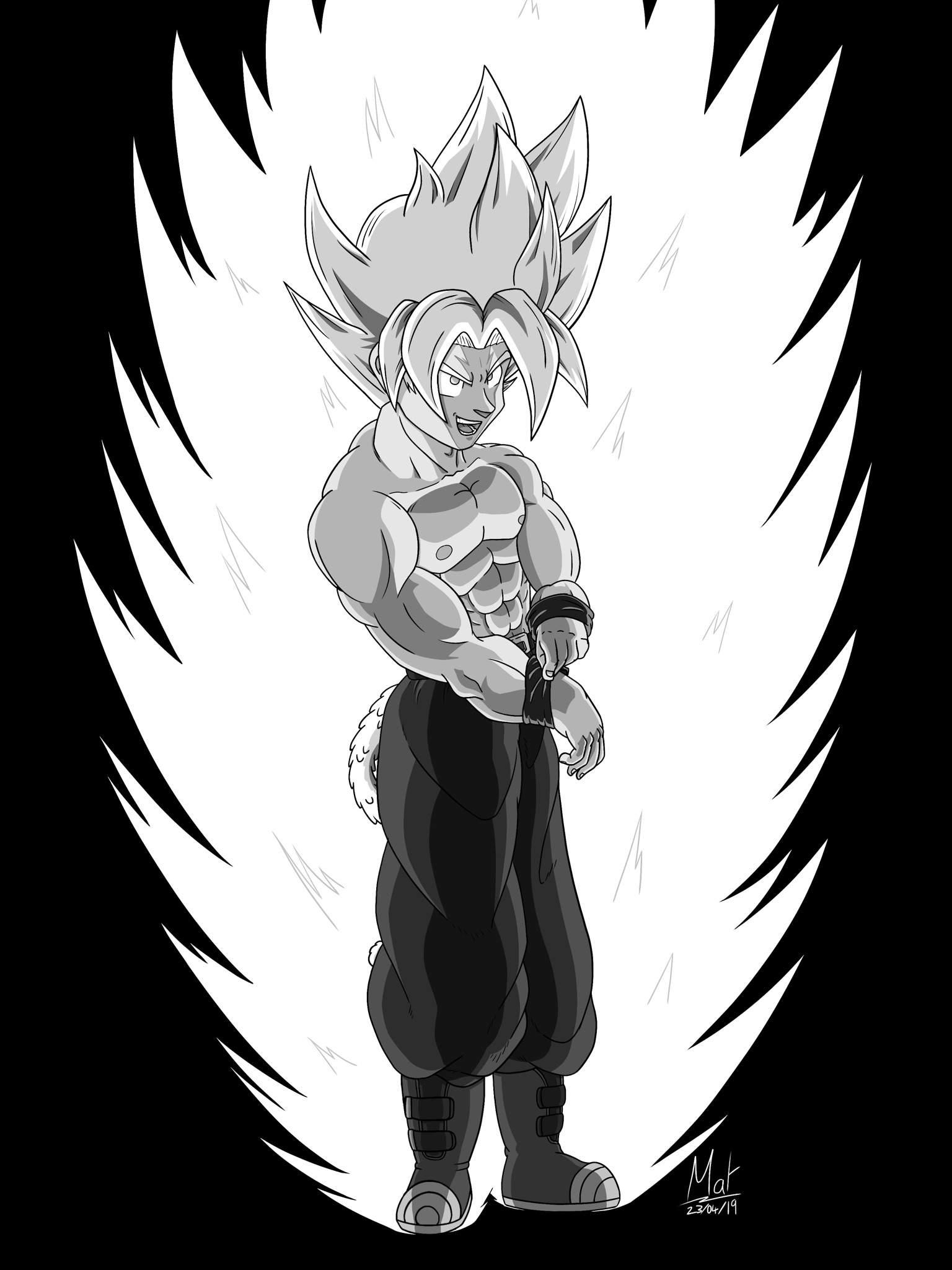 Super Saiyan Matkku Greyscale Art Dragonballz Amino