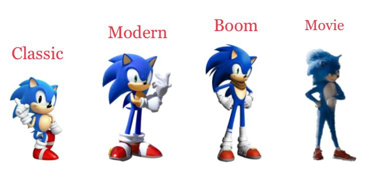 Main Sonic Design Comparisons Sonic The Hedgehog Amino