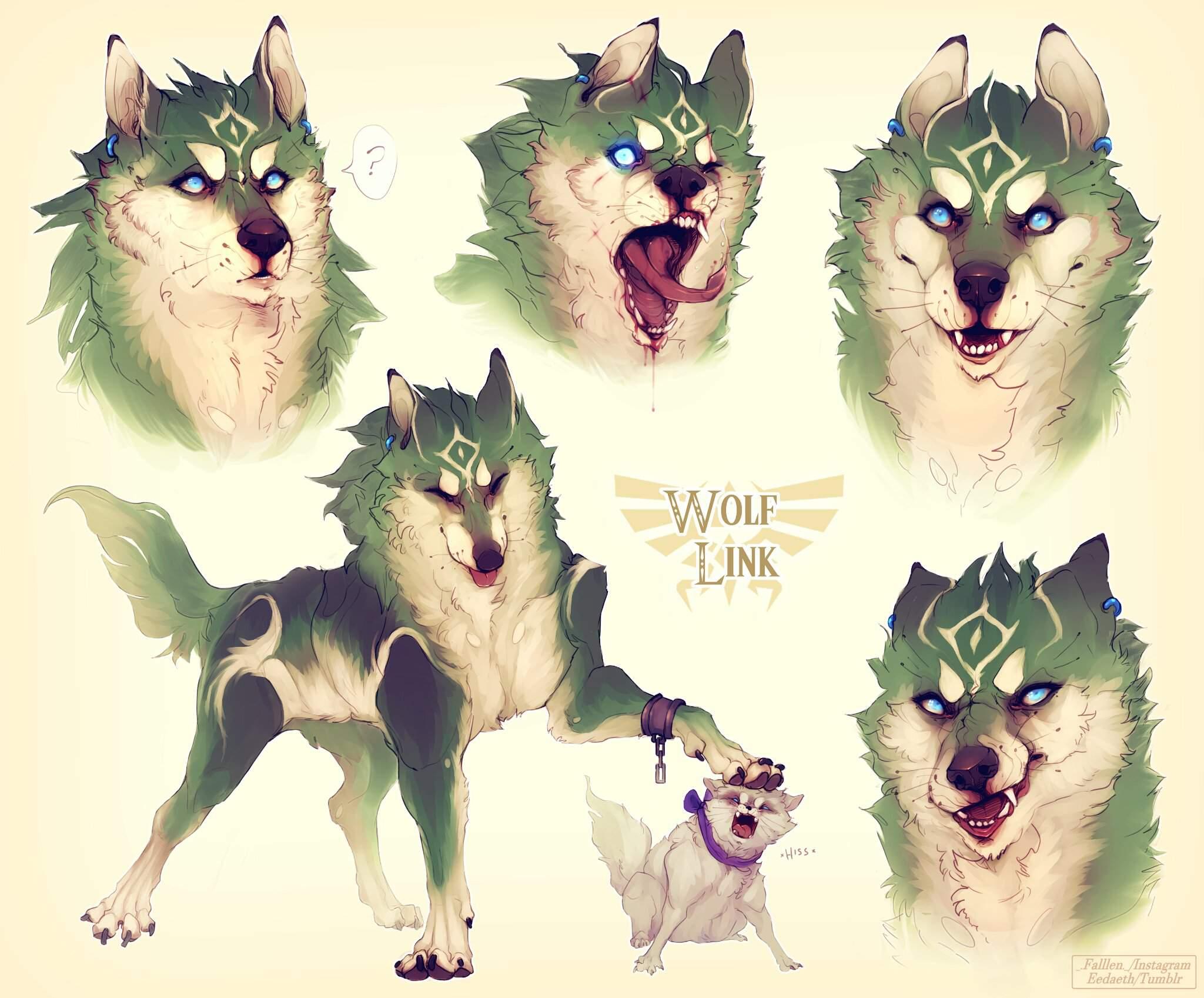 Wolf Link Coloured Sketches Fanart Zelda Amino