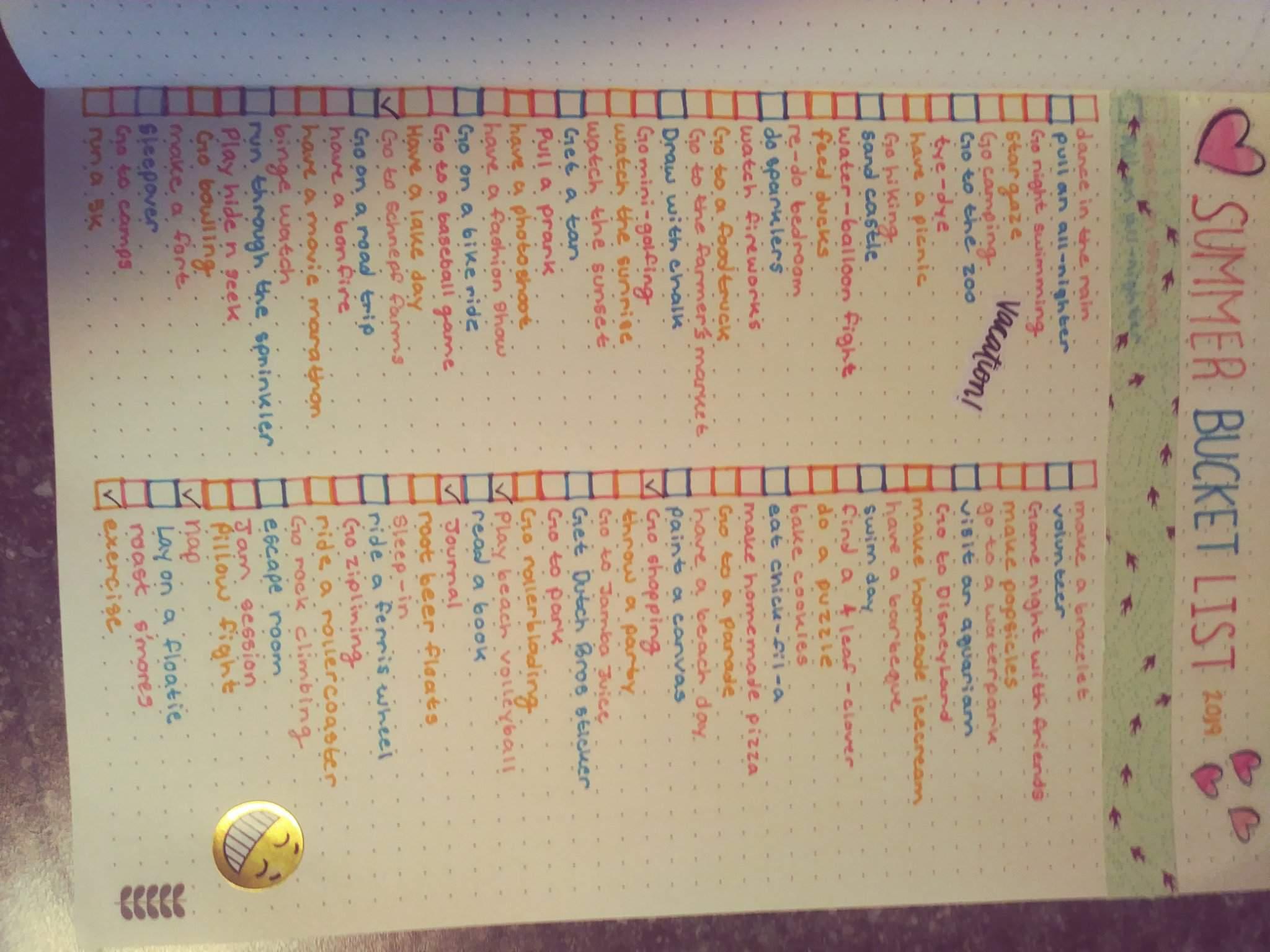 My Summer Bucket List Wiki Bullet Journal Amino