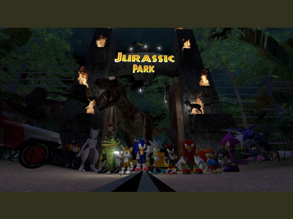 Image result for sonic travels to jurassic park