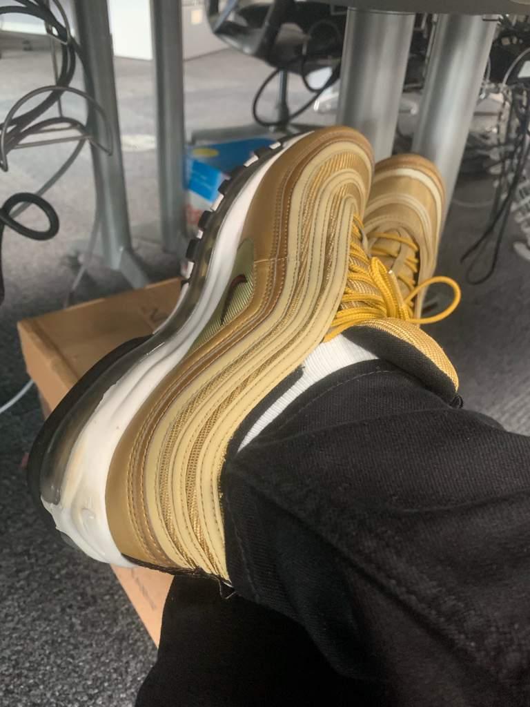 new arrivals 705ff 75a45 Air Max 97 Gold On Feet! 🔥🔥🔥 | Sneakerheads Amino