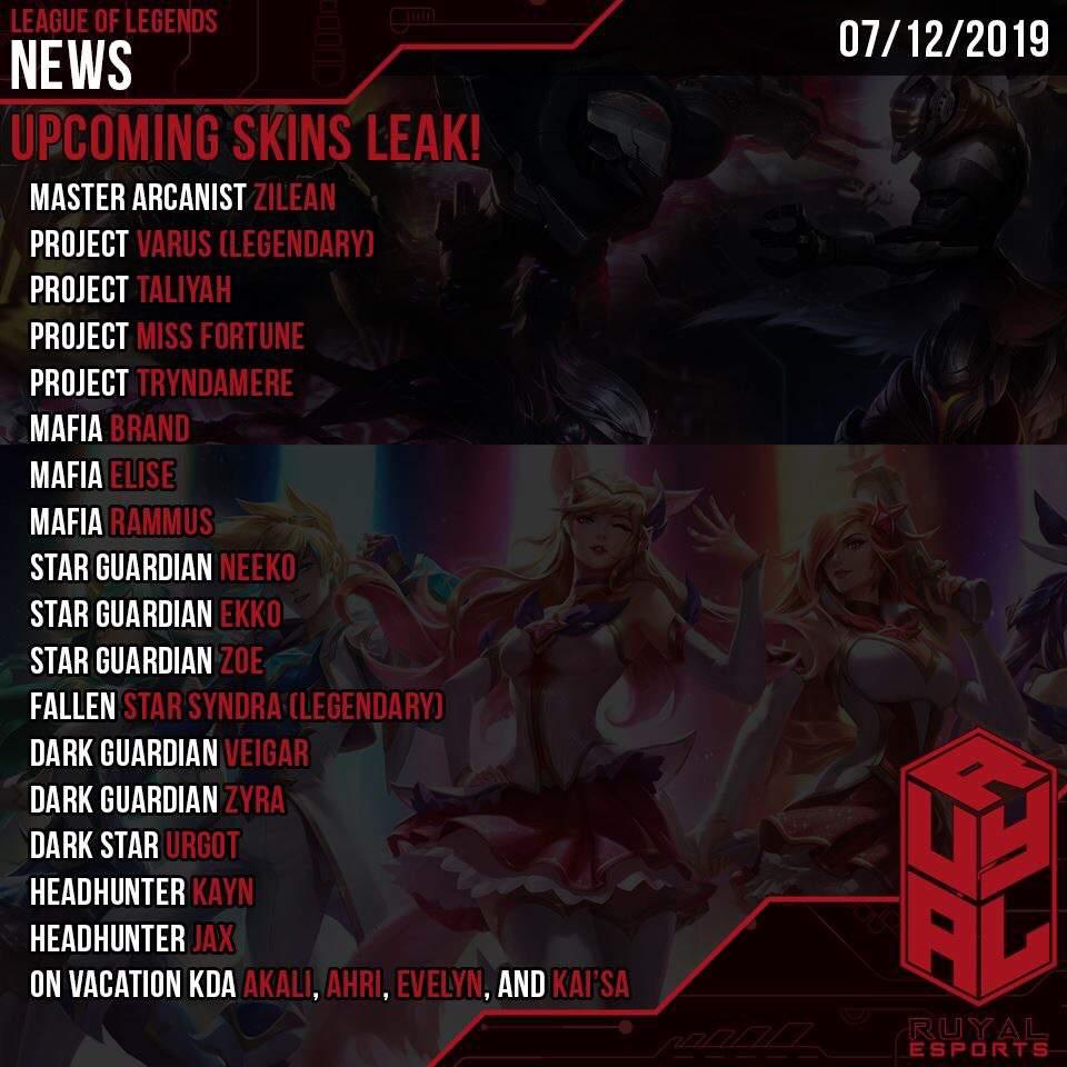 League Skin Leaks 2019
