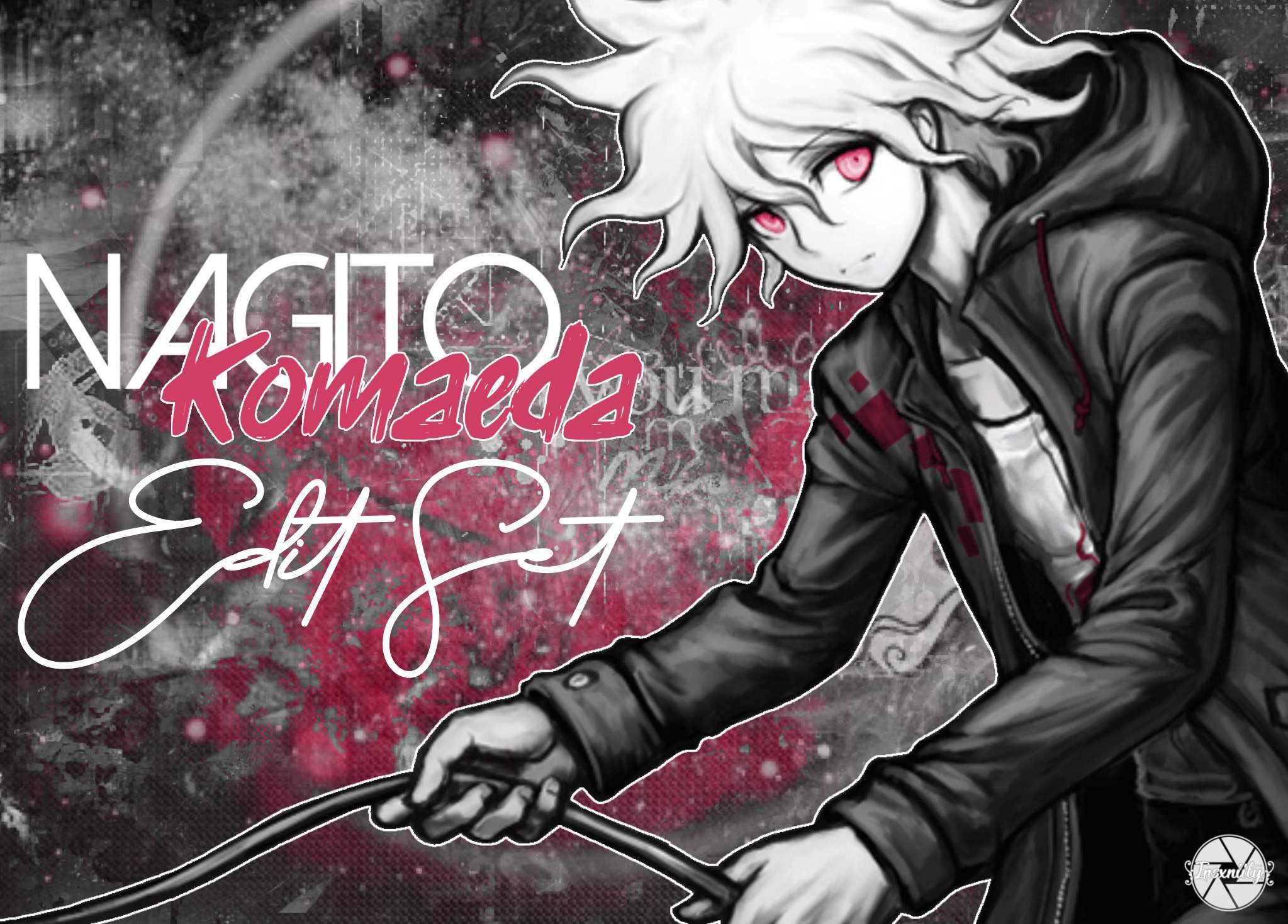 Monochrome edits of Nagito but they also have pink in them ...