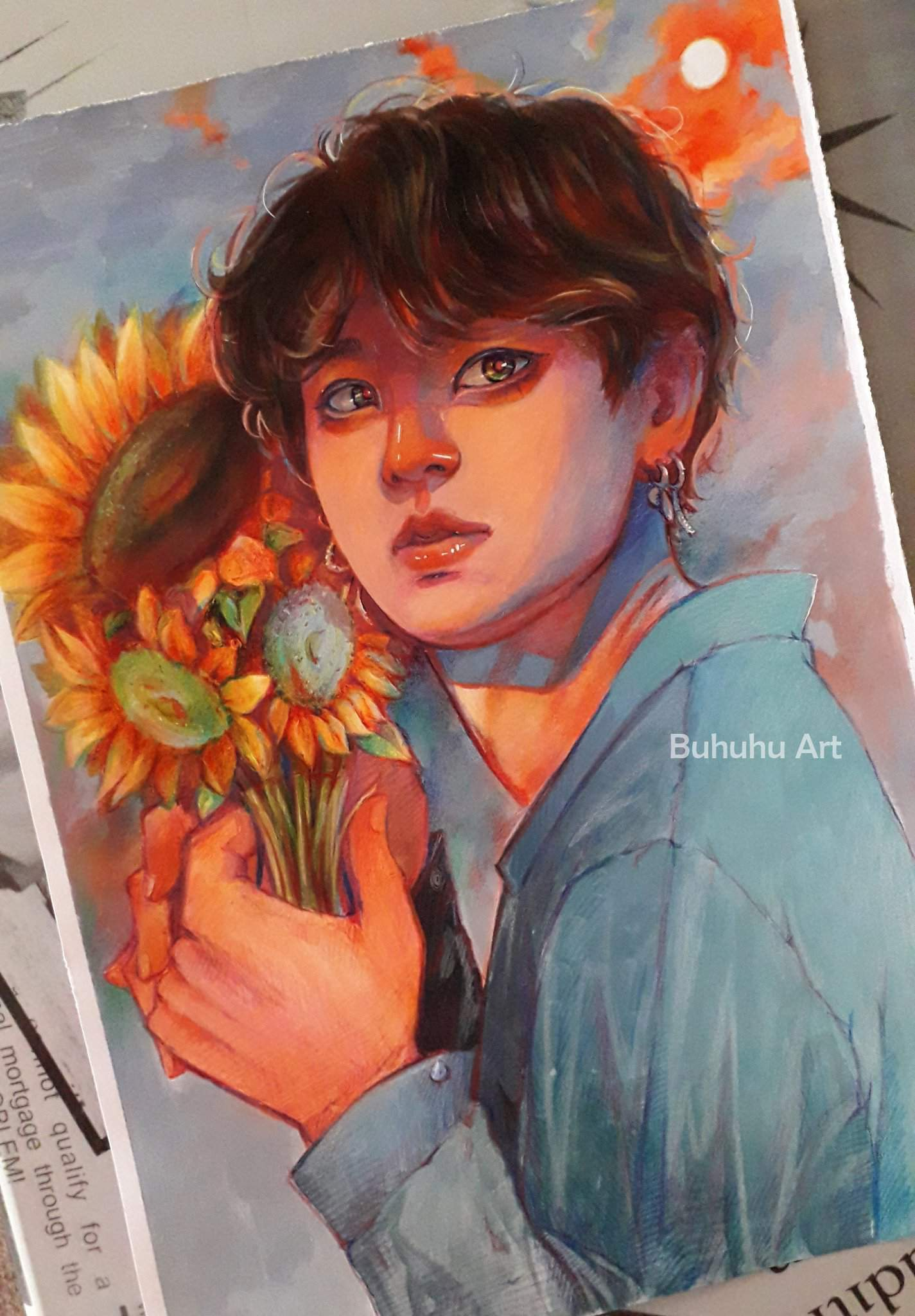 yoongi and sunflowers aquarelle acrylics watercolors soft pastels and colored pencils army s amino