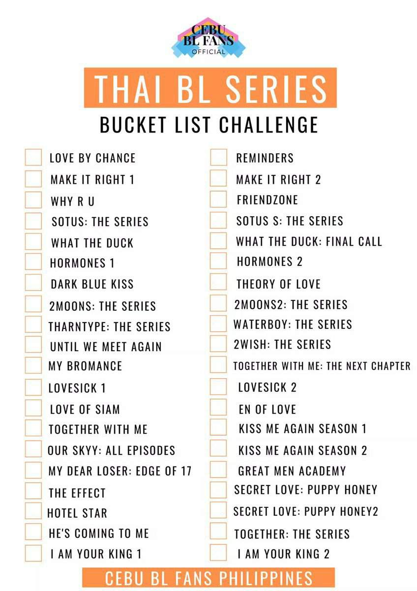 Thai Bl Bucket List Challenge Bl Drama Amino