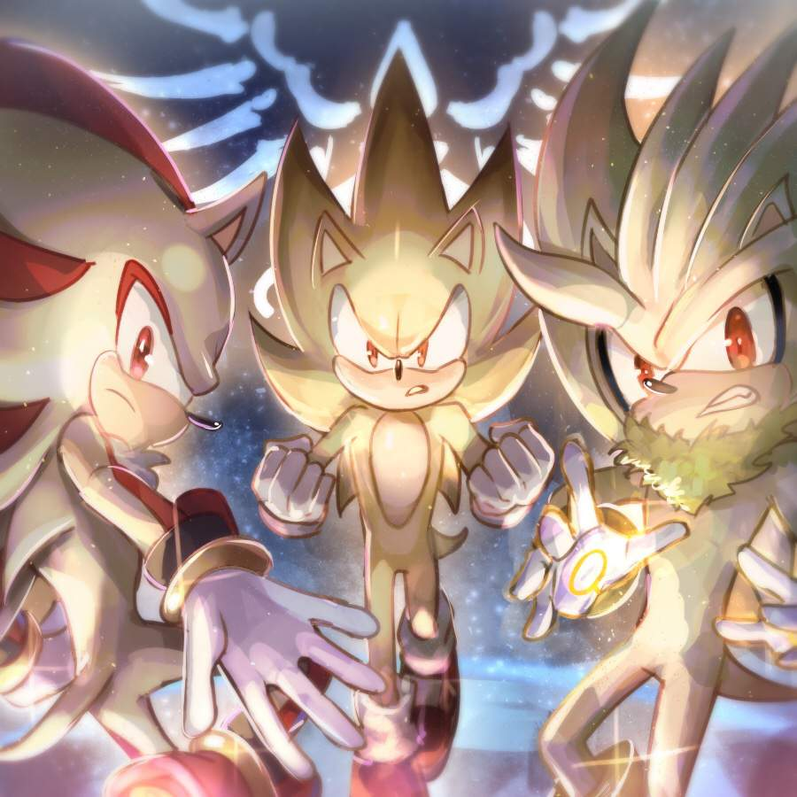 Super Sonic Shadow And Silver Fan Art Sonic The Hedgehog Amino