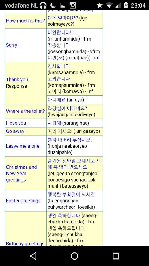 Basic korean phrases k pop amino so i was learning some simple korean phrases on the internet the other day and made some printscreens i hope youll find them useful m4hsunfo