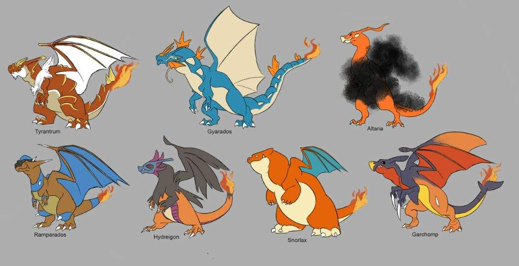 Dragonite Charizard And Gyarados