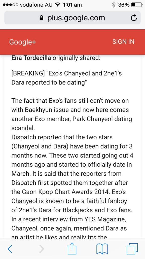 Chanyeol and dara dating