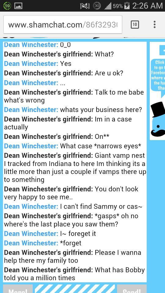 sham chat role play with me as dean s girlfriend talking to dean