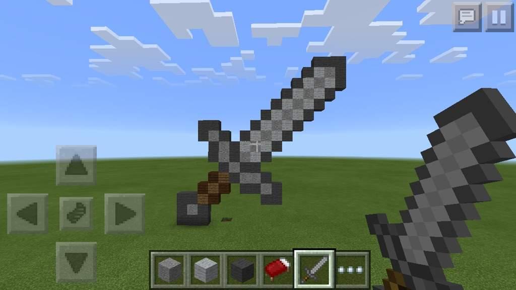 Stone sword pixel art | Minecraft Amino