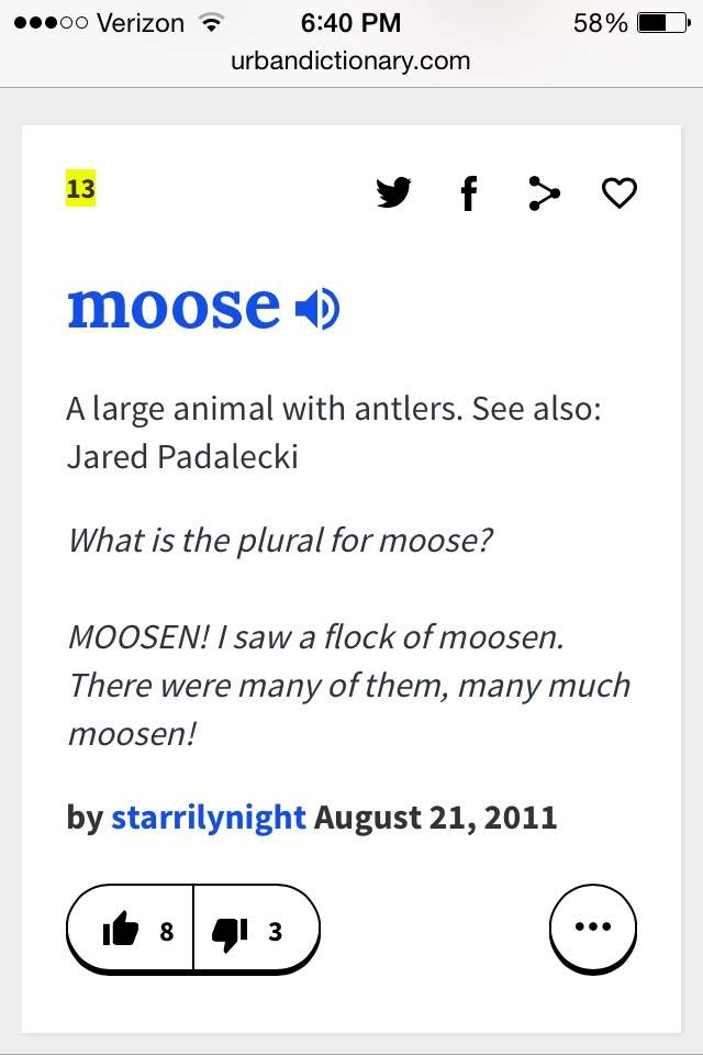 urban dictionary definition of moose supernatural amino