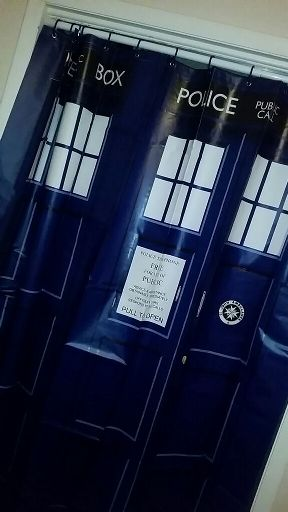 Given A TARDIS Shower Curtain My Mom Wouldnt Let Me Hang It Up In Our Bathroom Though The Next Best Thing And Use As Closet Door