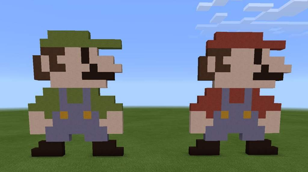Mario Bros Pixel Art Minecraft Amino