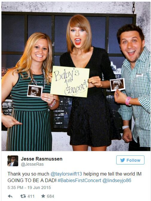 Taylor swift helps couple announce their pregnancy with cute photo the parents to be met swift at a media meet and greet before the concert jesse a host at local radio station 1023 the max said the couple had already m4hsunfo Choice Image